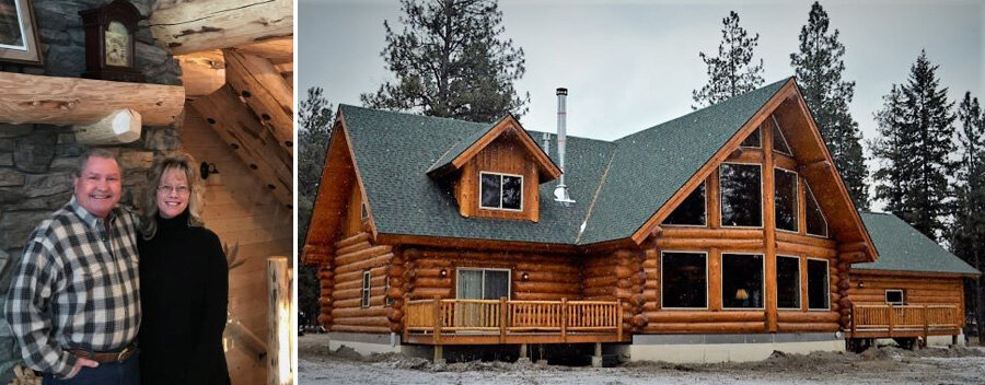 Two pictures, one of a man and woman smiling. The other of a completed log home.
