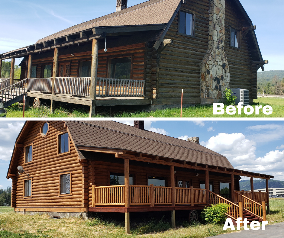 Image of a log building before it was restored and after it was restored